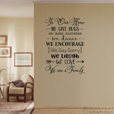 In Our Home Wall Decal We Are A Family We Give Hugs We Etsy Wall Decals Wall Decals For Bedroom Family Decals