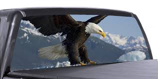 Bald Eagle Universal Truck Rear Window 50 50 Perforated Vinyl Decal Roe Graphics And Apparel