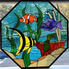 tropical fish octagon stained glass
