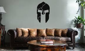 300 Inspired Cracked Spartan Helmet Vinyl Wall Mural Decal Home Decor Sticker