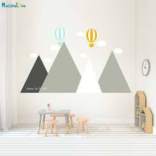 5 Colors Mountains Wall Decals Nursery Balloon Home Decor For Kids Baby Room Self Adhesive Nordic Style Murals Vinyl Yt1536 Wall Stickers Aliexpress