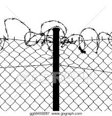 Vector Art Vector Of Wired Fence With Barbed Wires Clipart Drawing Gg58459287 Gograph