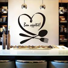 Phrase Words Bon Appetit Wall Sticker For Kitchen Wall Decor Spoon Folk Heart Vinyl Wall Decals Dining Room Home Decoration Wall Stickers Aliexpress