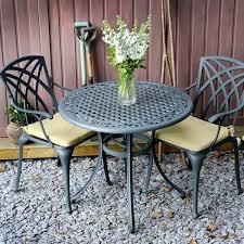cast aluminium patio set in slate