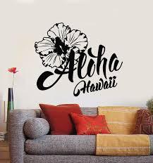 Vinyl Wall Decal Aloha Hawaii Lettering Summer Flower Hawaiian Sticker Wallstickers4you