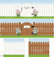 Seamless White Picket Fence With Gate Stock Illustration Download Image Now Istock