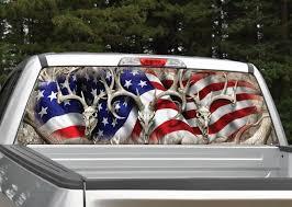 Deer Skull American Flag Camo Rear Window Graphic Decal Miller Graphics