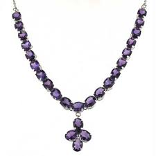 amethyst silver pendant necklace