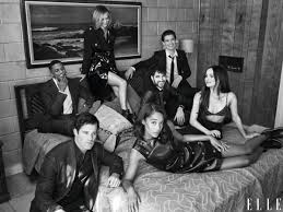 The cast of Hollywood in a black and white, stylized photo shoot.