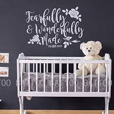 Battoo Fearfully And Wonderfully Made Decal Bible Verse Vinyl Wall Decal Scripture Wall Decal Nursery Decal For Girls Boys Bedroom Vinyl Wall Decal 16 W By 11 5 H White Wantitall