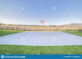Outdoor Basketball Court With Goalpost On A Sunny Day Stock Photo Image Of Spring Recreation 168692124