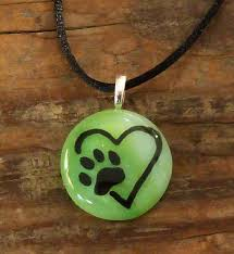 dog paw print on heart green necklace