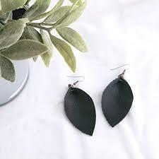 com black leather leaf earrings