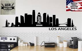 Los Angeles Skyline Wall Decal Wall Vinyl Sticker Wall Art La City Outline California Mural Palms Bridge Buildings In 2020 Sticker Wall Art City Outline Wall Decals