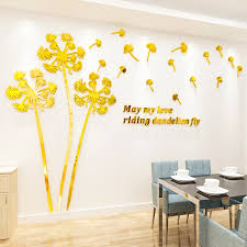 Mirror Dandelion 3d Large Wall Sticker Bedroom Living Room Tv Background Decal Art Floral Mural Home Decoration Flower Acrylic Wall Stickers Aliexpress