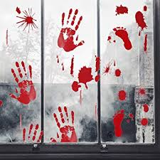 Amazon Com 60 Pcs Bloody Handprint Footprint Halloween Window Clings Wall Vampire Zombie Party Decorations Decals Stickers Supplies Beauty