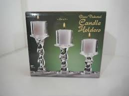 clear glass pedestal candle holders set