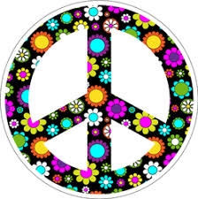 Floral Black Peace Sign Sticker