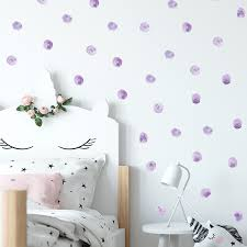 Watercolor Purple Polka Dots Wall Stickers Circles Hand Drawn Wall Decals For Kids Room Baby Nursery Home Decoration Wall Decor Wall Stickers Aliexpress