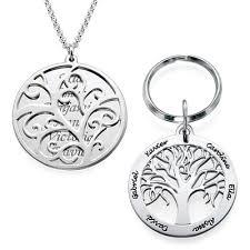family tree keyring necklace set my