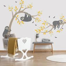 Sloth Wall Decal Sloth Tree Wall Decal Sloth Wall Sticker Etsy Tree Wall Decal Wall Decals Vinyl Wall Decals