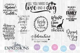 set of svg designs adventure and family quotes