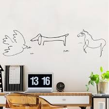 Picasso Line Drawings Minimalist Drawings Wall Decals Stickers Set Of 3 Free Shipping Minimalist Drawing Wall Decals Line Drawing