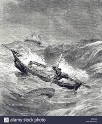 Engraving depicting Alfred Johnson fighting off a Shark during his ...