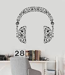 Vinyl Wall Decal Headphones Music Musical Room Art Stickers 426ig Ebay