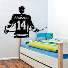 Ice Hockey With Personalized Name Number Wall Decal