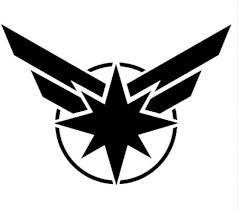 Amazon Com Marvel Comics Captain Marvel 5 5 Symbol Logo Die Cut Decal Sticker For Laptop Car Window Tablet Skateboard Black Color Everything Else