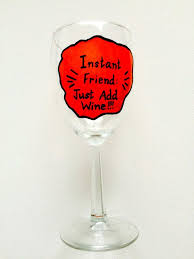 funny wine glass e hand painted