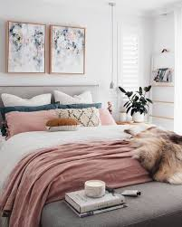 dusty pink white and teal bedroom
