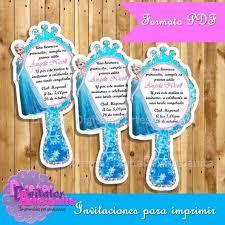 Invitaciones Frozen Elsa Silueta Espejito Para Imprimir 100 00