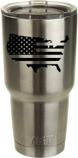Classy Vinyl Creations Usa Flag Decal For Yeti Tumbler We Don T Sell Tumblers Decal Ozark Trail Tumbler Decal Black Or White Decals 3 7 H X 4 W Amazon Com