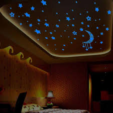 Amazon Com Wall Sticker Pocciol A Set Kids Bedroom Fluorescent Glow In The Dark Stars Lovely Wall Stickers Blue Clothing