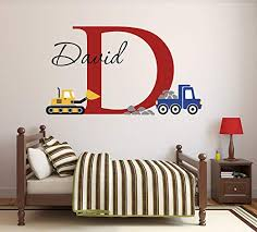 Amazon Com Lovely Decals World Llc Custom Construction Truck Name Wall Decal For Boys Nursery Baby Room Art Decor Vinyl Sticker 34 W X 22 H Home Kitchen