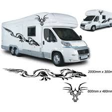 4pcs For Dragon Graphics Motorhome Vinyl Stickers Decals Camper Van Rv Caravan Horsebox Wish