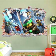 Lego Ninjago 3d Smashed Wall Decal Broken Wall Sticker Wall Art Dalvars On Artfire