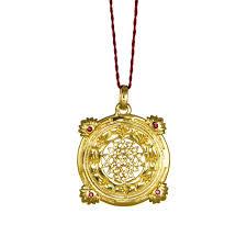 gold anhänger sri yantra mit rubinen