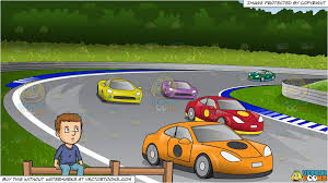 On The Fence And Car Race Track Background Clipart Cartoons By Vectortoons