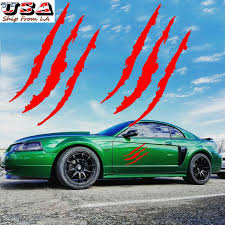 2x 15 Monster Scratch Claw Red Vinyl Headlight Side Decal For Ford Mustang