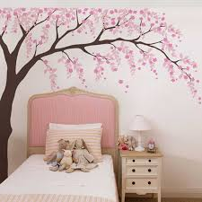Baby Girls Room Wall Decal Cherry Blossom Tree Art Decor Vinyl Stickers Leaves Tree Wall Decals For Nursery Wall Decoration Wall Stickers Aliexpress