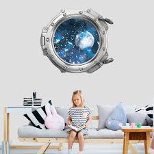 Shop Space Wall Decal Kids Stars Porhole Window Mural 3d Overstock 31571480