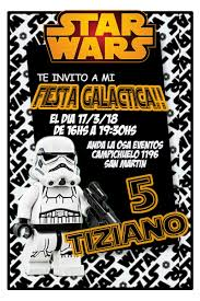 Tarjetas Invitaciones Cumpleanos Star Wars Lego X10uni 60 00