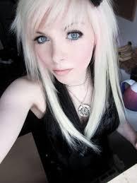 black and blond emo scene hair