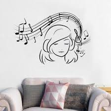Girl Wall Decal Vinyl Music Lover Wall Sticker Music Teen Girls Room Decor Removable Music Style Wall Art Mural Ay1332 Wall Stickers Aliexpress