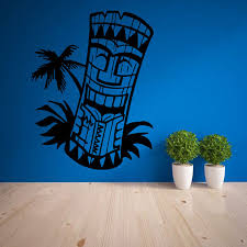 Tiki Bar Decor Wall Decal Living Room Home Decor Waterproof Art Sticker Wallpaper Totem Island Hawaii Mask Culture Zb169 Decorative Wall Decal Sticker Wallpaperwall Decals Aliexpress