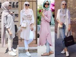 hijab outfits in pastel colors just