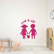 Amazon Com Customvinyldecor Nursery Decor Jack And Jill Nursery Rhyme Vinyl Wall Decal Decoration For Children S Bedroom Playroom Or Classroom Small Large Sizes Black Blue Pink Purple Other Colors Handmade